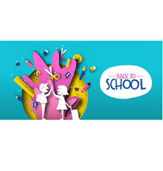 back to school papercut kid friends and supplies vector image