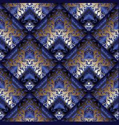 Baroque seamless pattern floral dark blue 3d vector