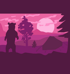 bear silhouette in camp vector image