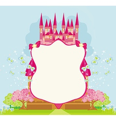 Beautiful fairytale pink castle frame vector