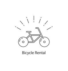 bicycle rental with thin line bike vector image