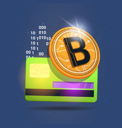 Bitcoin over credit card icon digital crypto vector