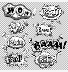 black and white comic speech bubbles vector image