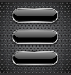 Black oval glass buttons on metal perforated vector