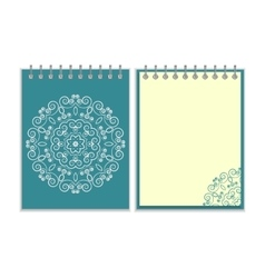 Blue cover notebook with round floral pattern vector