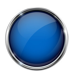 blue glass button round 3d shiny icon with metal vector image