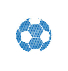 blue halftone football with dots flying soccer vector image