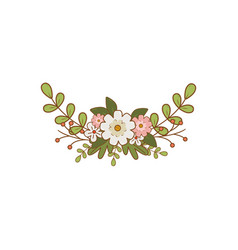 Branch with leafs and flower vector