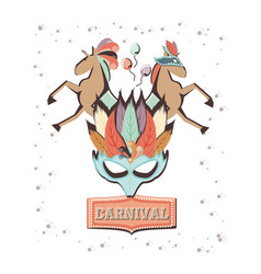 Carnival mask with circus horses vector