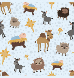 christmas nativity jesus with animals vector image
