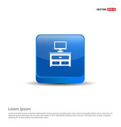 Computer table icon - 3d blue button vector