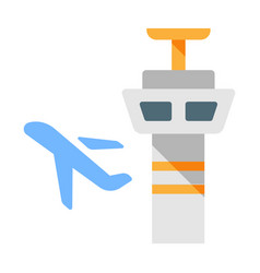 Control tower flat vector