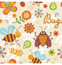 Cute bugs pattern vector