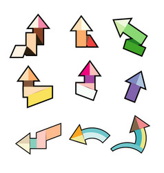 cute colorful paper arrow stickers with shadows vector image