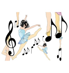 Dancing between the notes vector image