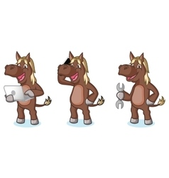 Dark Brown Horse Mascot with phone vector