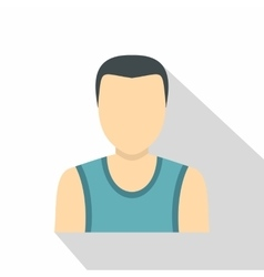 Dark haired man in a vest icon flat style vector