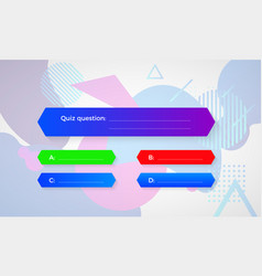 Design quiz in blue color question and four vector