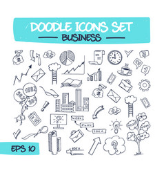 Doodle icons set - business vector