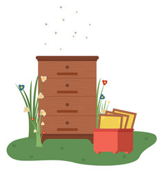 Drawers and cabinets with flying bees agriculture vector