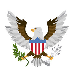 Eagle with arrows and leaves vector