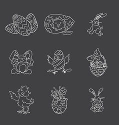 easter doodles large collection hares chickens vector image