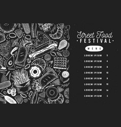 fast food banner on chalk board street vector image