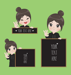 female chef holds a signage vector image