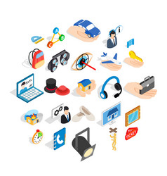 film business icons set isometric style vector image
