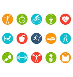 fitness round buttons icons set vector image