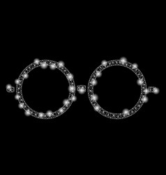 Flare mesh network spectacles with flare spots vector