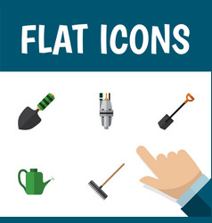 Flat icon garden set of pump spade harrow and vector