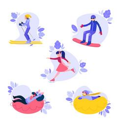 Flat people enjoying winter sports set vector