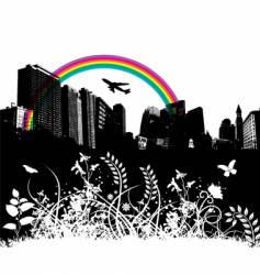 floral city rainbow plane vector image