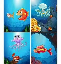 Four scenes of sea animals in the sea vector image