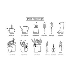 gardening simple icon set contains icons vector image