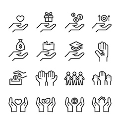 give and protect icon line vector image