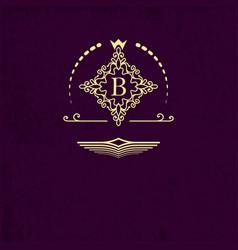 golden emblem ornamental frame around the letter b vector image
