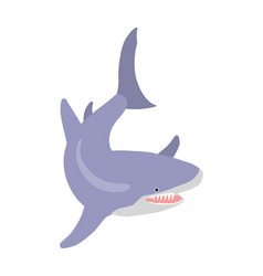 great white shark cartoon flat vector image