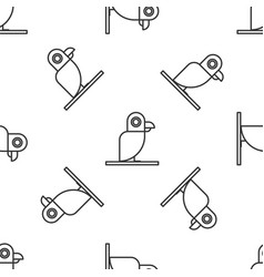 Grey line pirate parrot icon isolated seamless vector