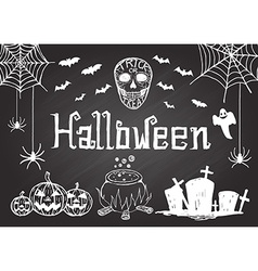 hand drawn halloween on chalkboard vector image