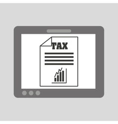 Hand holding tablet taxes graphics growth vector