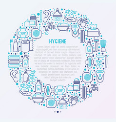 Hygiene concept in circle with thin line icons vector