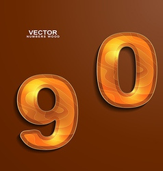 Icons wood texture numbers 9 0 vector