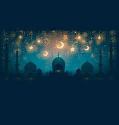 Islam magical oriental night on picture vector