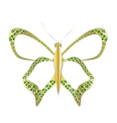 Jewelry gold butterfly in gems vector