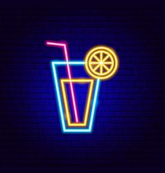 Lemonade drink neon sign vector