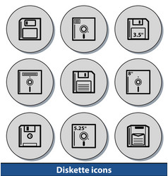 Light diskette icons vector