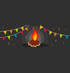 Lohri bonfire banner flat style vector