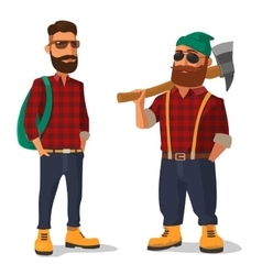 lumberjack and hipster in yellow shoes red vector image